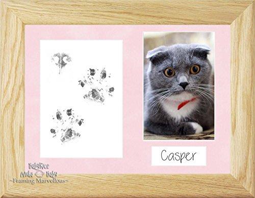 Anika-Baby Cat Animal Patte pattes kit cadre photo en chêne massif de chaton Cadeau mémoire empreintes personnaliser vous-même