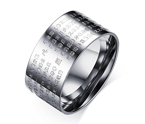 10mm Wide Stainless Steel Chinese Heart Sutra Engraved Buddhist Ring Bands for Men (10)