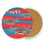 Posavasos de cerámica para bebidas absorbentes – Cinta de casete de audio de corcho – Juego de 4 posavasos de regalo de inauguración de la casa, para decoración de mesa de fiesta