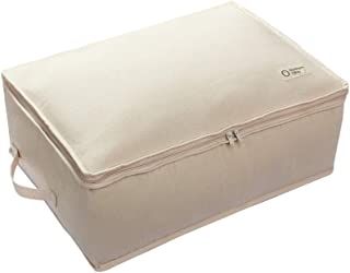 NORTHERN OLIVE Organic Cotton Storage Cube. Eco Friendly, Washable, Foldable, Reusable, Durable. (Natural Beige, Large)