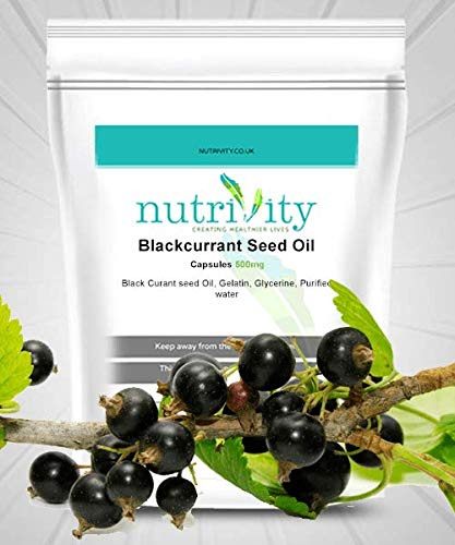 Blackcurrant Seed Oil 500mg Softgel Capsules Natural Supplement by Nutrivity (120)