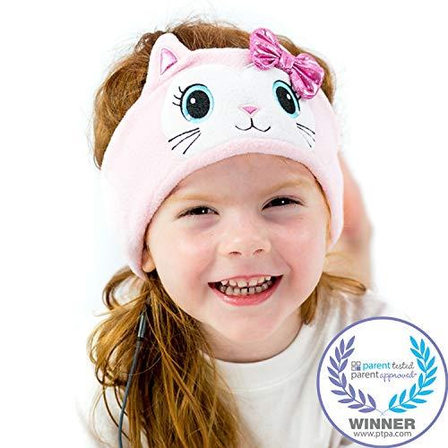 Kinderkopfhörer Mit Lautstärkebegrenzung Von CozyPhones - Ultra-flaches Kinder Kopfhörer Stirnband Ideal Für Zuhause Und Unterwegs - Lustige Design, Geeignet Für Jungen Und Mädchen - Pink Bow Kitty