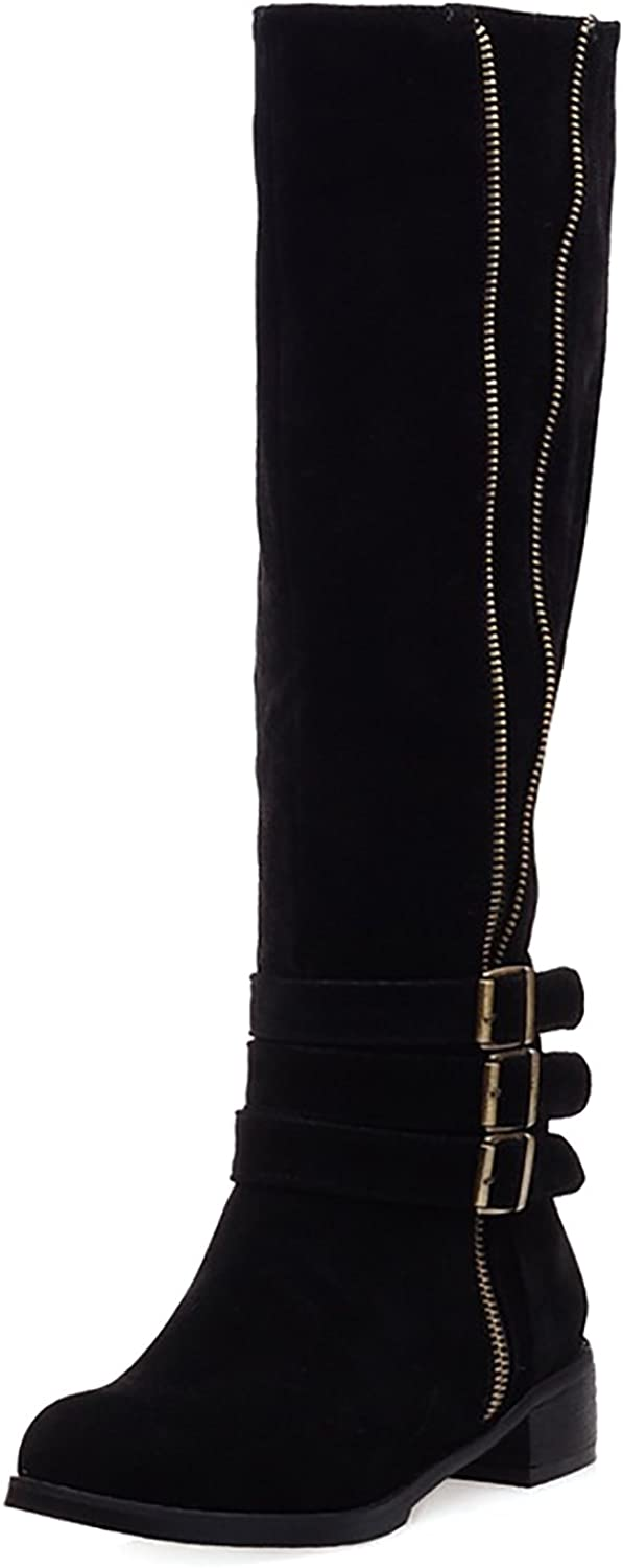 Novel Harp Knee High Boots for Women Wide Calf Faxu Suede Zipper with Buckles Size US5-10.5