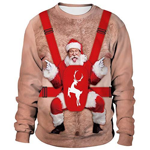 U LOOK UGLY TODAY Unisex Hässliches Weihnachts Sweatshirt Männer Frauen Neuheit 3D Druck Weihnachten Weihnachts Rentier Hoodie & Rundhals Sweatshirt, X-Large Size