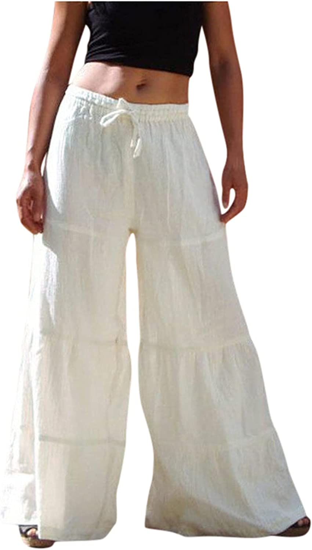 MIVAMIYA Women's Comfy Palazzo Yoga Pants Drawstring Flare Boho Pants Loose Flowy Harem Hippie Pajama Lounge Elephant Pants