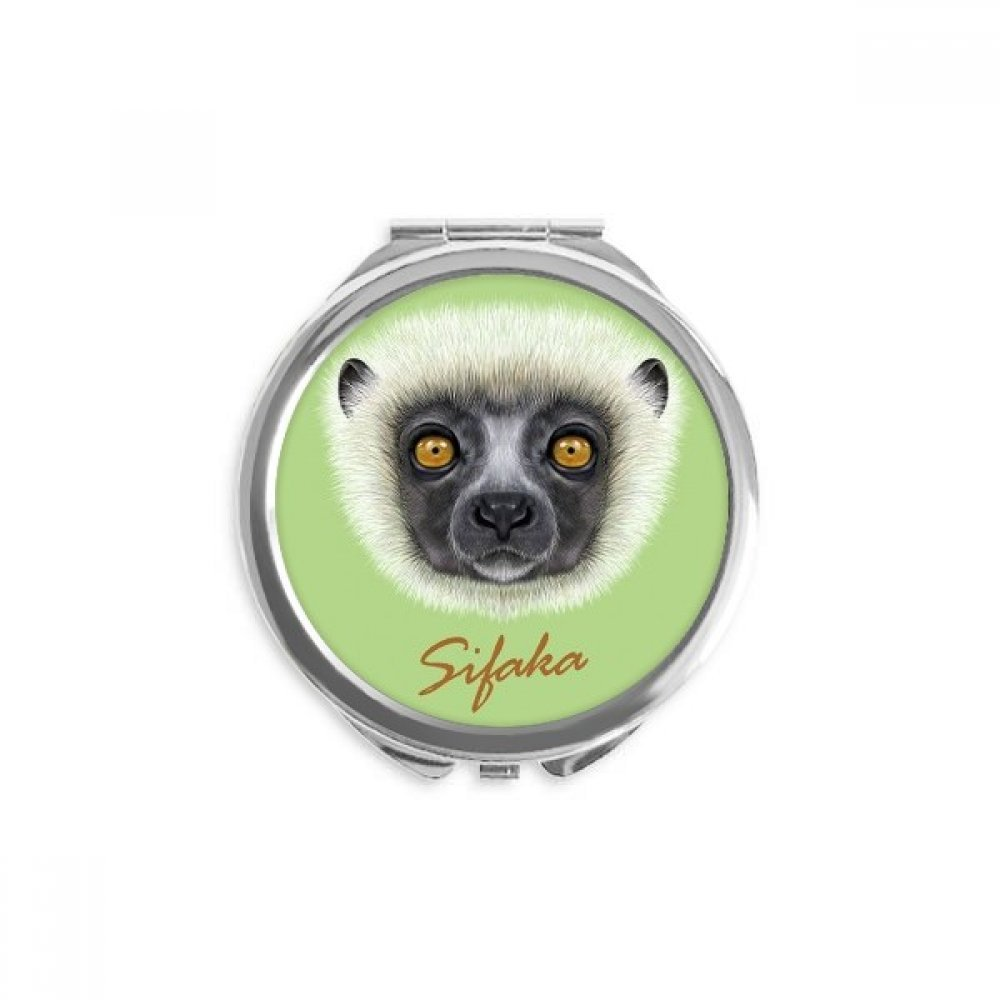 White Fluffy Sifaka Monkey Animal low-pricing Fixed price for sale Mirror Round Compact Port Hand