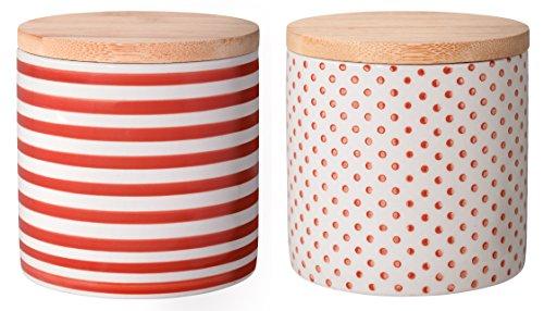 Bloomingville Behälter mit Deckel Isabella, rot, Keramik Bambus Silikon, 2er Set