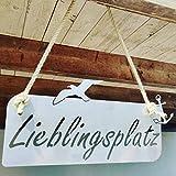 Steelbutze | Schild Lieblingsplatz aus Edelstahl 47 x 22 cm | mit Hanfseil zum Aufhängen | Nordseefeeling