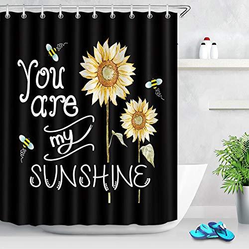 XCBN Biene Sonnenblume Duschraum Sie sind Mein Sonnenschein Cartoon Design Wasserdichten Bad Vorhang mit Haken Dekoration A1 150x180cm