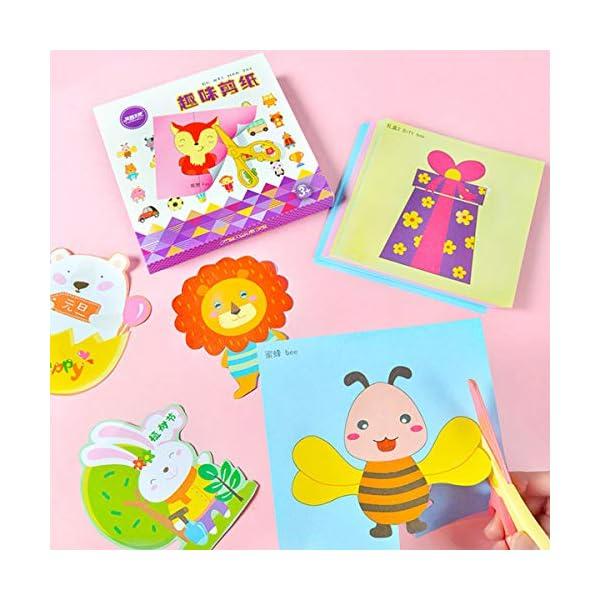 Powcan Libro de Actividades de Corte con Tijera, Kit de artesanía de Tijera, Bricolaje de Papel, Habilidades de Tijera para niños Desarrollo temprano Aprendizaje de Juguetes, Edades 3 +, 100 páginas