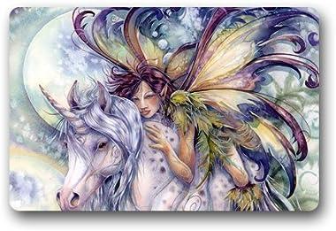 Fairy with Unicorn Customized Doormat Entrance Mat Floor Mat Rug Indoor/Front Door/Bathroom/Kitchen and Living Room/Bedroom M