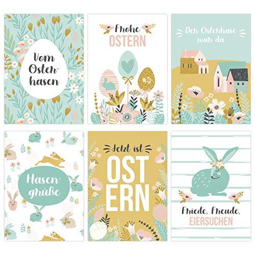 Papierdrachen 12 Osterkarten zum Sammeln und Verschicken - liebevoll gestaltetes Postkarten Set Frühling Türkis - Grußkarten Set 12 - Ostern 2021