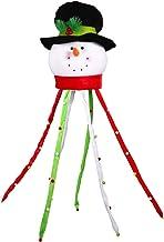 LIOOBO Christmas Tree Topper Snowman Ornaments Winter Seasonal Festival Party Decoration (Black Hat)