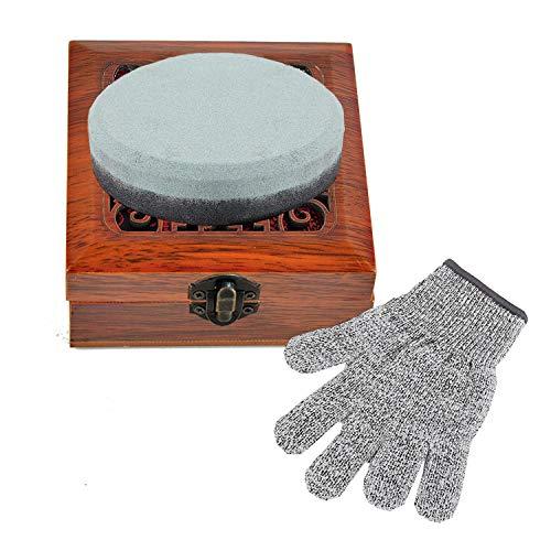 Axt-Schleifstein, doppelseitiger Schleifstein, Schleifstein, Mehrzweck-Wasserstein, Messerschärfer, doppelseitig, mit schnittfesten Handschuhen und Holz-Geschenkbox