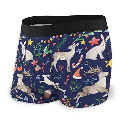 RROOT Heren Ultra Zacht Ondergoed Trunk Blauw Aquarel Kerst Herten Boxer Briefs