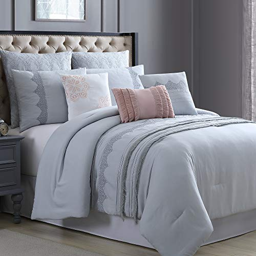Amrapur Overseas Kinley 8-Piece Embroidered Comforter Set, King/California King, Grey