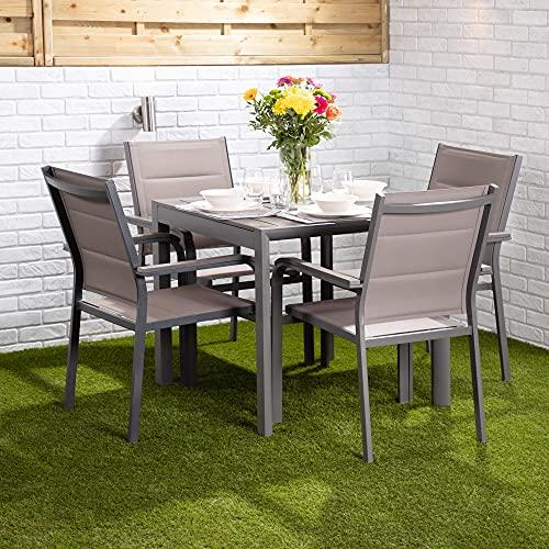 Set da pranzo da giardino a 4 posti, set di tavoli e sedie da esterno, struttura in alluminio, sedie impilabili, tavolo a scelta con sedie Textoline (tavolo quadrato con quattro sedie Texteline)