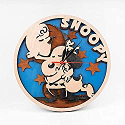 Snoopy Dog Wooden Clock Birthday Gift for Boy Peanuts Wall Art 3D Wall Clock Cartoon Art Cute Snoopy 12 Inch Wooden Clock Xmas Gift for Kids Wooden Wall Clock with Snoopy Design