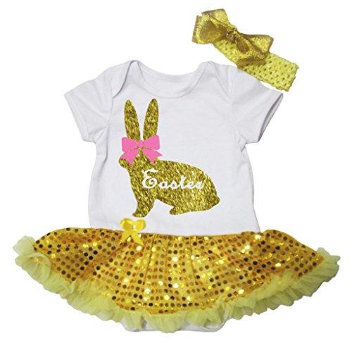 Petitebelle Pasen Boog Goud Bunny Wit Lichaam Geel Pailletten Tutu Nb-18m