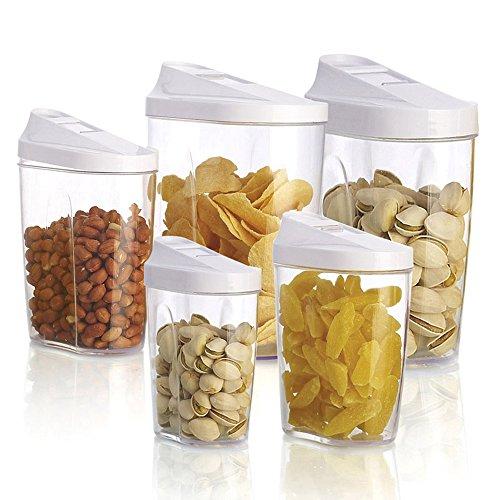 Pinzz blocco acrilico trasparente in plastica, contenitori per cucina, barattoli contenitori, set ideale per zucchero, tè, caffè, riso, pasta, set da 5 pezzi.