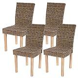 4 x silla de comedor Littau, silla Mini Me, leña-ratán