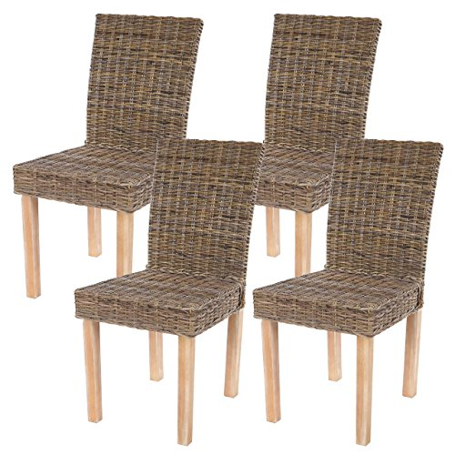 Lot de 4 chaises de séjour Littau Chaise en Osier, rotin kubu