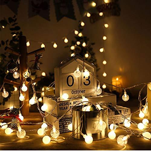 HCCX 5M 50 LED String Light, ghirlanda in cristallo bianco caldo, adatta per cortile, famiglia, esterno, camera da letto, festa, vacanze, decorazione di matrimonio, 50 luci 5 metri