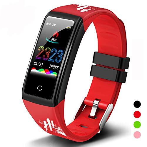 Smartwatch Orologio Fitness Uomo Donna Bambini Impermeabile Activity Tracker Cardiofrequenzimetro Polso Contapassi Smart Watch Offerta Intelligente Bluetooth Sport Orologio per Android iOS(Rosso)