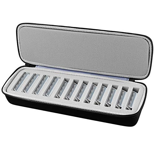 COMECASE Grooming Clipper Blade Case Holder Organizer - Hard Travel Carrying Storage Holds 12 Blades - Upgrade