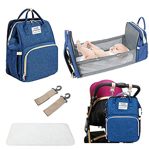 INNOLV Diaper Bag Backpack with Folding Crib,Travel Changing Bed with Bassinet Mattress for Baby Portable 5 in 1 Sleeping Mummy Bag Multi-FunctionalOrganizer Include Insulated Pocket