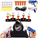 Alan Air Electric Shoting Hover Floating Target Game Set, Foam Dart Blaster Shooting Ball Scoring Toys, with 2 Blaster Gun, 5 Holder,10 Soft Foam Balls 10 Darts, Great Gift for Boys and Girls Yellow