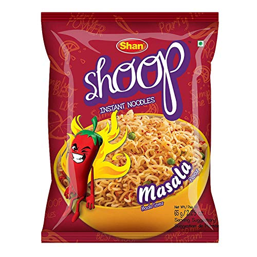 Shan Shoop Instant Noodles 2.29 oz (65g) - Masala Saveur Masala Flavour - Simply the Best - Suitable for Vegetarians - Airtight Pack in Polythene Bag