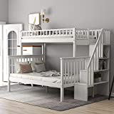 GAOPAN Twin Over Full Bunk Bed Frame with Staircase ,Storage Shelves, Ladders and Safety Guardrails for Kids, Teens, Adults, White