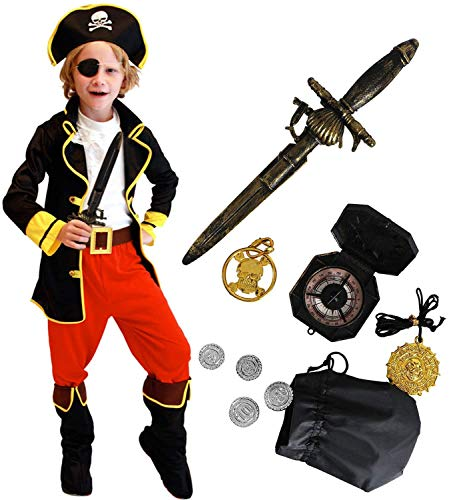 Tacobear Pirate Costume Enfant Déguisement Pirate Accessoires Pirate Cache-Oeil Dague Compass Bourse Boucle d'oreille Or Medasie Enfant Pirate Halloween Costume (M 4-6 Ans)