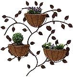 LHLYL-DP Blumenständerregal Kreative Kokospalme aus Schmiedeeisen, Pflanzenregal an der Wand, Pflanzbalkon Innenwanddekorationsrahmen (3 Körbe),Messing