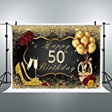 Riyidecor 50th Birthday Backdrop Black Gold Woman Balloons Champagne Photo Photography Background 8X6 Feet Shining Sequin Rose Gold Party Decorations Celebration Props Photo Shoot Vinyl Cloth