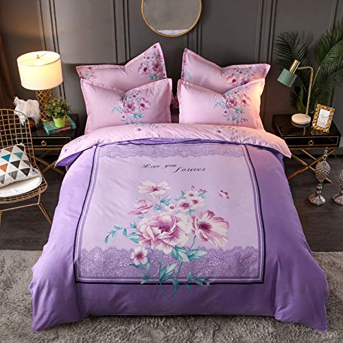 BH-JJSMGS Printed duvet cover and pillowcase, bedding-fade resistant and stain resistant, with zipper opening and closing, 180 * 220cm flowers-purple