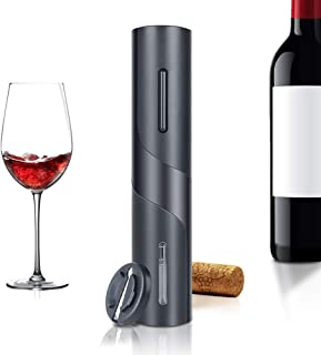 【2021最新】JIGUOOR ワインオープナー 電動 電池式 自動栓抜き コルク抜き ホイルカッター付き 便利 プレゼント ワインアクセサリー 電池付属 & 日本語説明書付属 (ブラック)