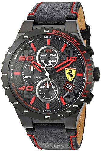 Ferrari à Quartz pour Homme en Acier Inoxydable et Cuir décontractée Montre, Couleur : Noir (modèle : 830363)