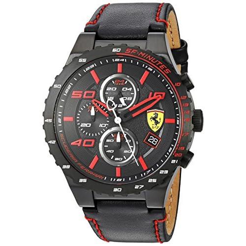 Ferrari–Orologio in acciaio INOX e pelle casual da uomo, colore: Nero (Model: 830363)