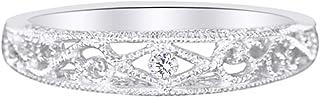 Vendita di vacanze Bianco Diamante Naturale Vintage Band Filigrana Incidere Antico Anello In Oro 10ct Solido (0,01 Cttw)