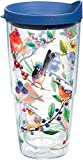 Tervis Watercolor Songbirds Insulated Tumbler with Wrap and Blue Lid, 24 oz, Clear