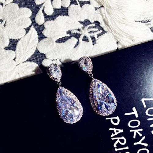 FEARRIN Stud Earrings Luxury Female Crystal Big Water Drop Earrings Silver Color Stone Earrings Boho Wedding Jewelry Women Long Dangle Earrings