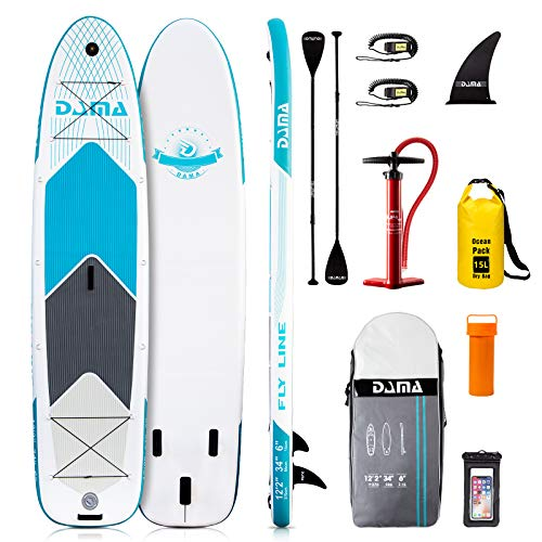 DAMA Inflatable Paddle Boards Stand Up(12'2'x34'x6'), Reinforced Drop Stitch, 550LBS Bearing Stand...