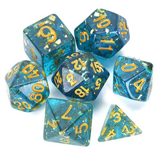FLASHOWL Set di Dadi Blu Chiaro Trasparente Dungeons And Dragons Dadi Set di Dadi da Gioco Poliedrici Set di Dadi D&D (7 Pezzi, Lamina d'oro all'Interno, Numeri d'oro)