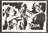 Poster Zelda y Link Grafiti Hecho a Mano - Handmade Street Art - Artwork...