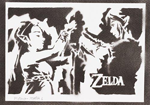 Zelda und Link Poster Plakat Handmade Graffiti Street Art - Artwork