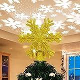 Greenf Christmas Decorazione per albero, proiettore per albero di Natale rotante con proiettore a fiocchi di neve per decorazioni per alberi di Natale - argento