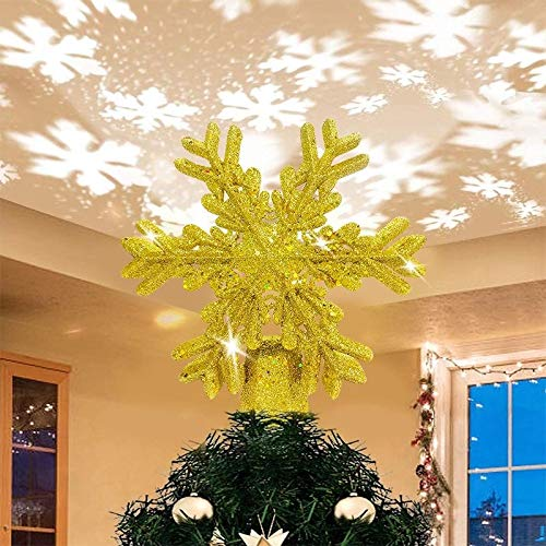 SevenAndEight Weihnachtsbaumspitze Schneeflocke mit led Projektion von dynamischen Schneeflocke Lichteffekte, Christbaumspitze mit Stromstecker - Golden