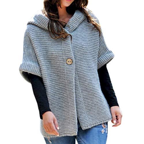 BOLANQ Mantel Jacke Coat Outwear Sweatshirt Parka Hoodie, Frauen-Winter-halbe Hülsen-Normallack-mit Kapuze Strickjacken Outwear Mäntel(X-Large,Grau)